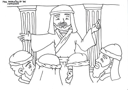 Paul Preaching In The Synagogue Coloring Page Paul Bible Bible