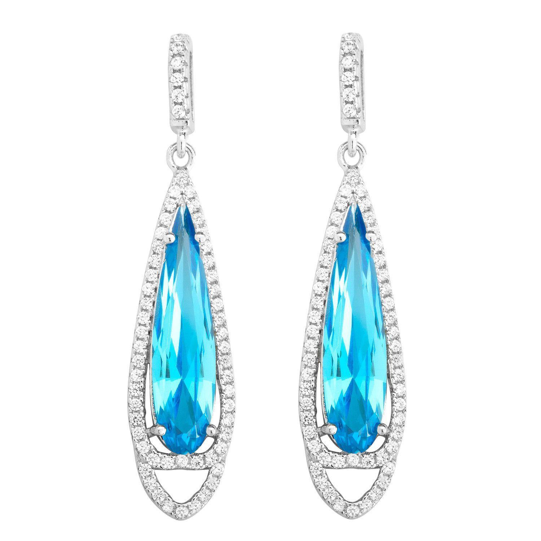 La Preciosa Sterling Silver Micropave Blue and White CZ Earrings, Women's, Size: Medium
