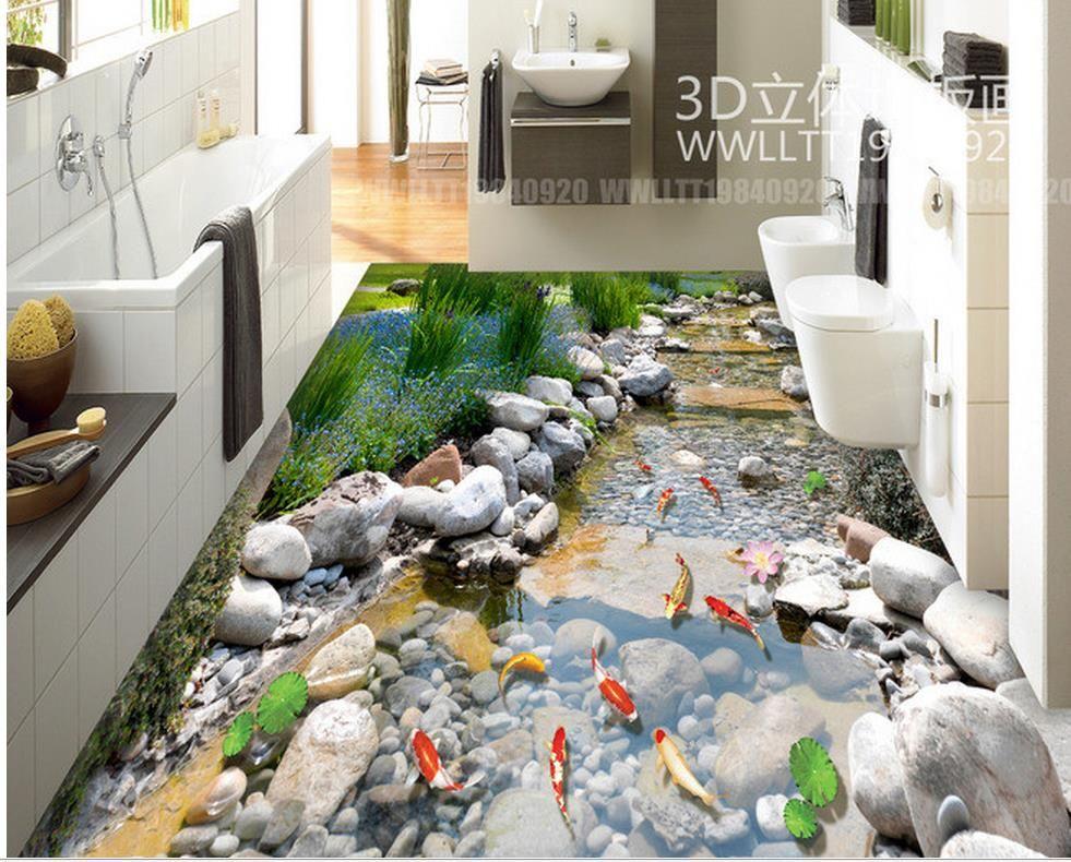 Murah Foto Kustom Lantai Wallpaper 3d Stereoscopic Batu