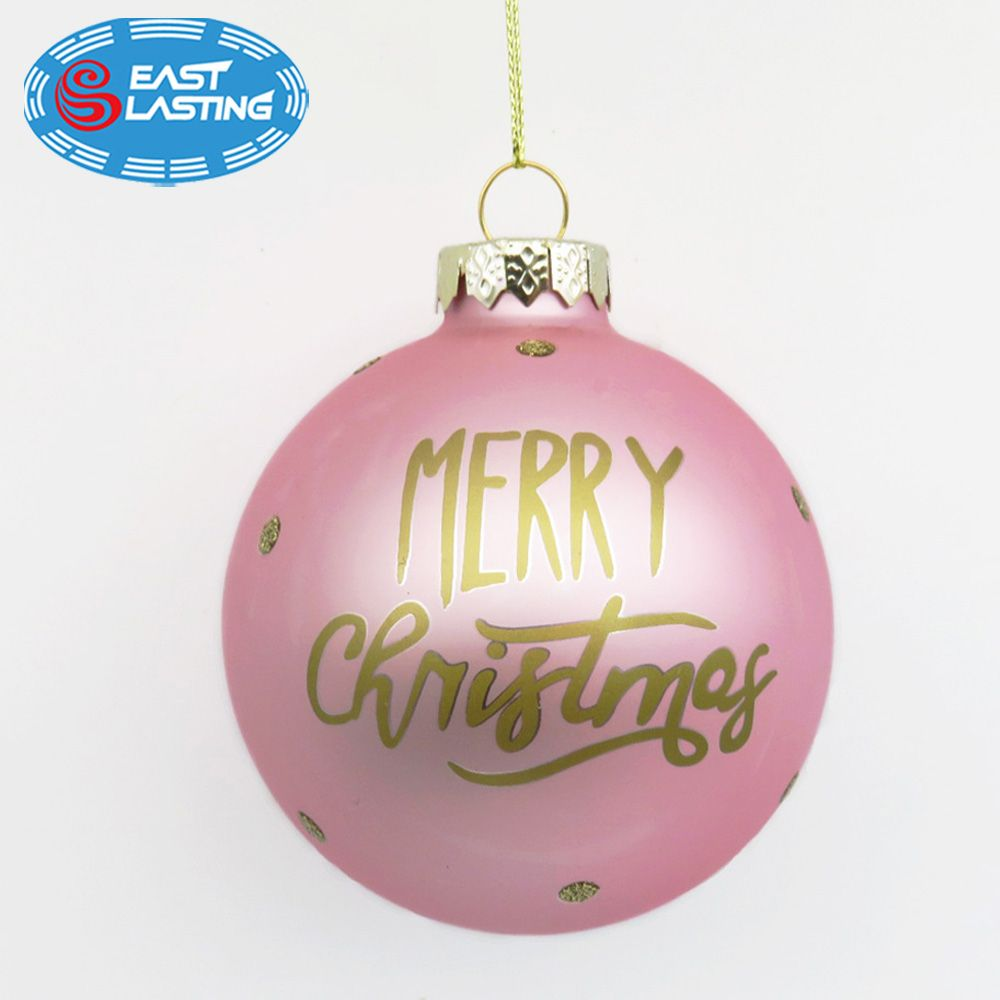 Personalized Pink Christmas Glass Ball Ornament Glass Ball Ornaments Personalized Christmas Ornaments Personalized Christmas