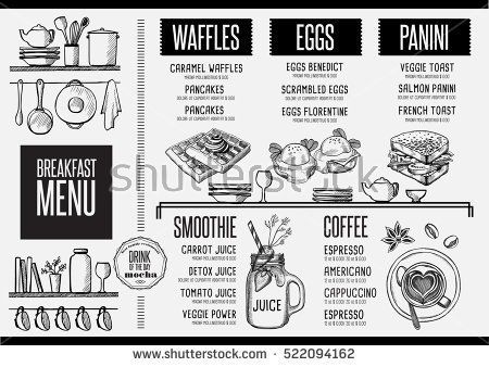 Breakfast menu placemat food restaurant brochure, template design - dinner flyer