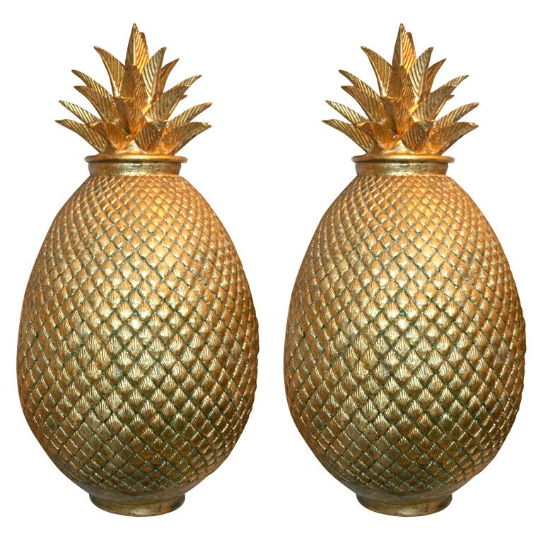 Large Decorative Jars Gilded Terra Cotta Pineapples  Terra Cotta Mexico And The Artist