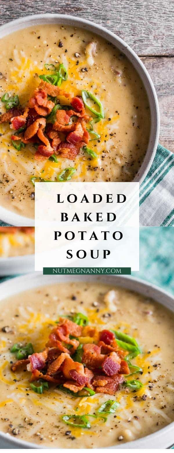 This loaded baked potato soup is packed full of red potatoes, bacon, cheese and green onions. You'll love all the flavor packed into this soup and it's ready in just 1 hour! Hello, delicious! #potatosoup