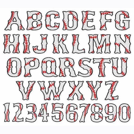 Baseball Font Alphabet Numbers Embroidery Design Download Fill Stitch Design Baseball Font Lettering Lettering Fonts