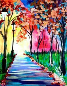 Colorful Walk Spring Painting Painting Canvas Art