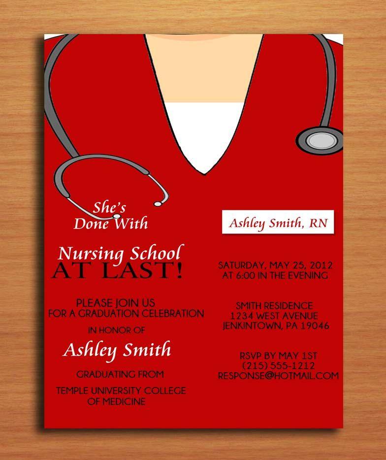 scrub top nursing medical degree graduation party invitation cards printable diy 1500 via etsy