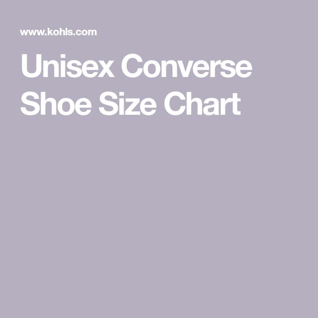 Unisex Converse Shoe Size Chart