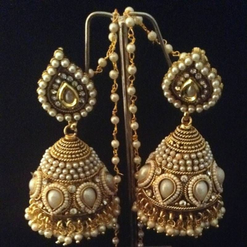 Bridal Heavy Ethnic Pearl Kundan Jhumka India Earrings Online