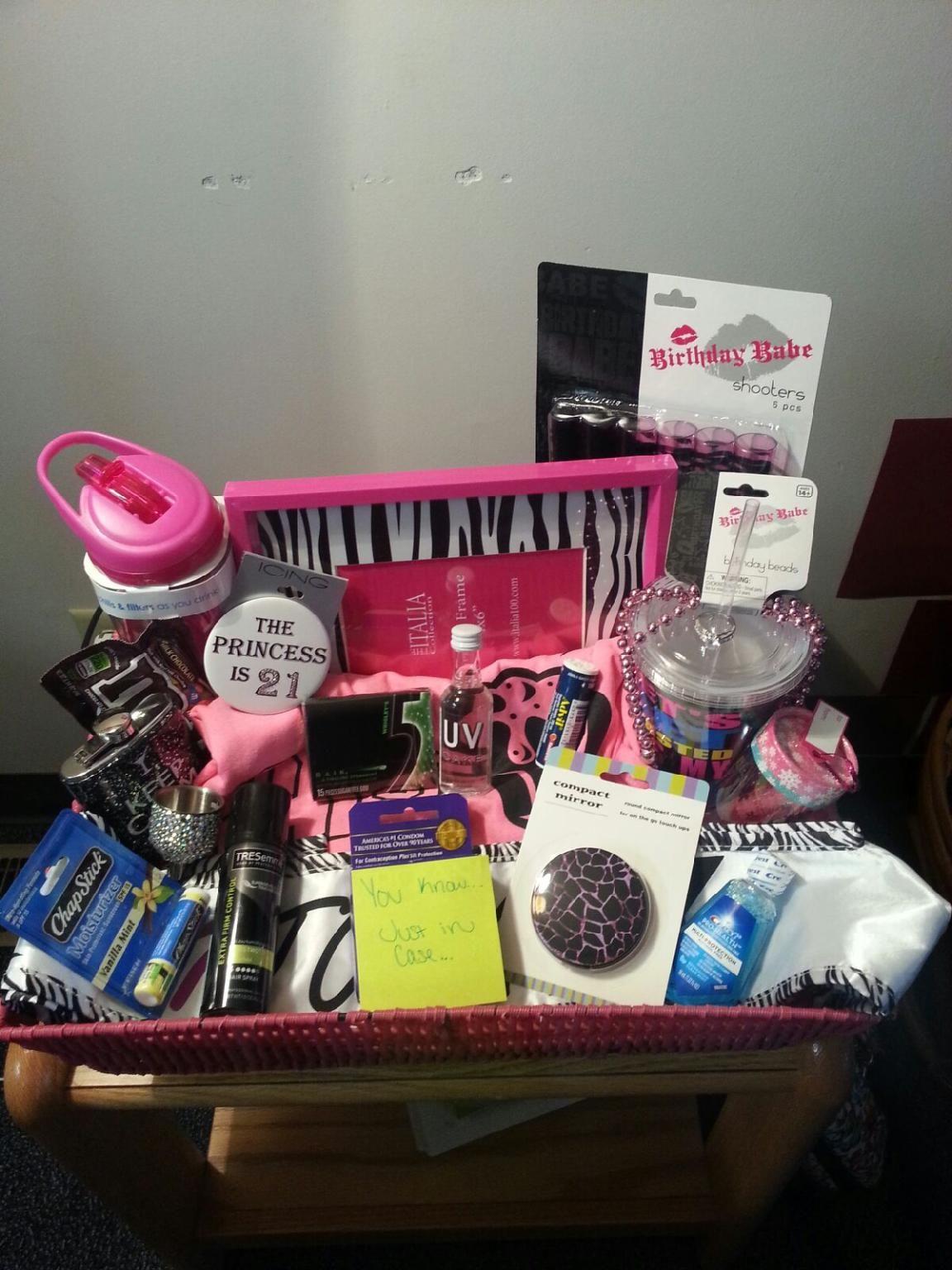 21st birthday basket 21 gifts water bottle, shot glasses