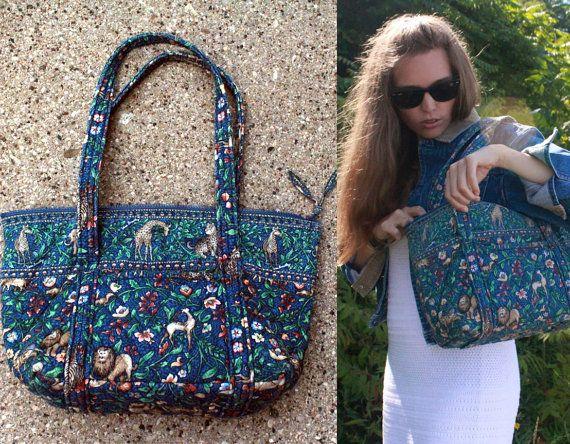 24b3924ba95b Vera Bradley ANIMAL KINGDOM Tote BUCKET Bag 90s Rare Retired Microfloral  Print Cloth Jungle Diaper Bag Novelty Purse Kitsch Large Handbag