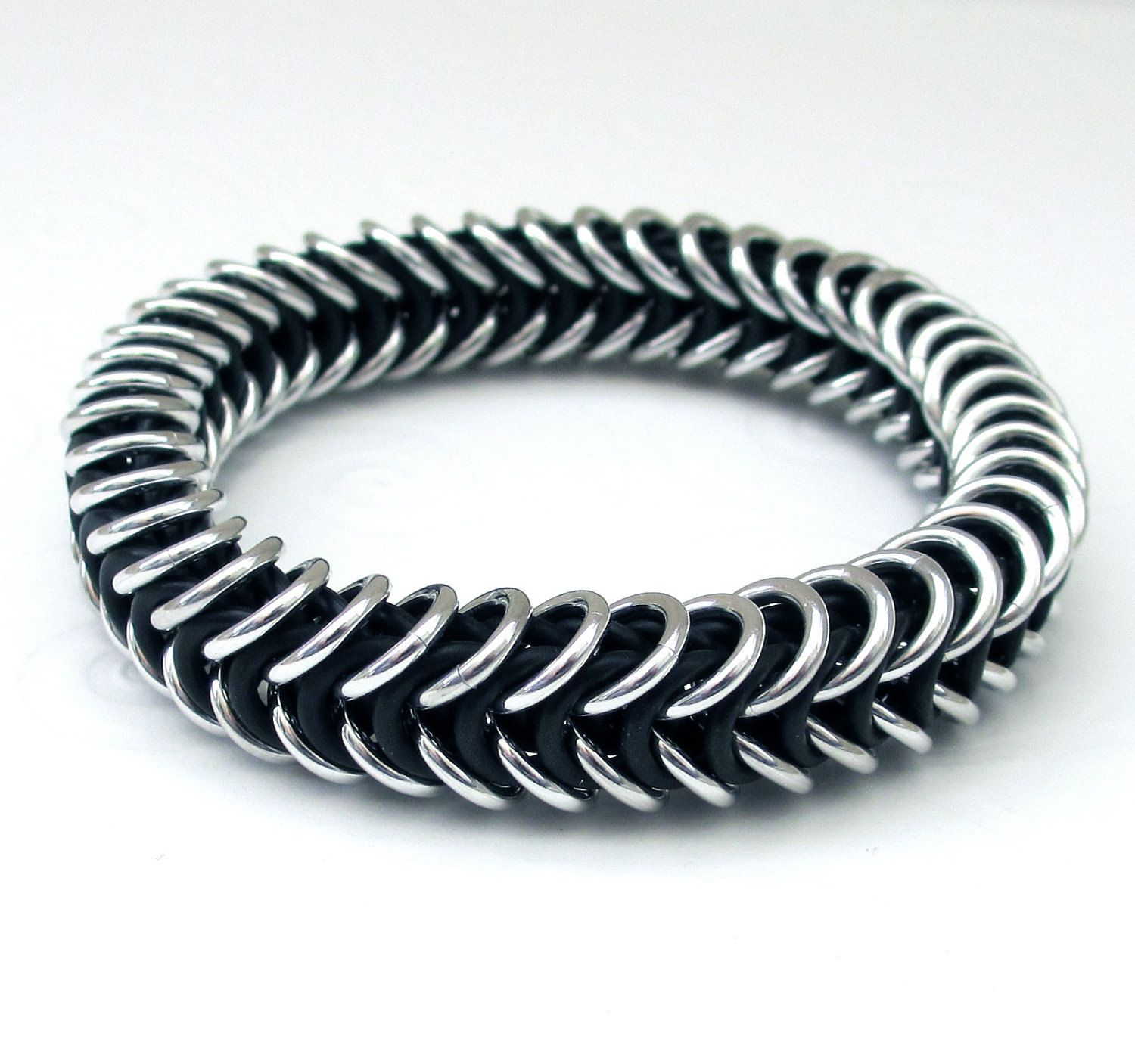 Black and silver stretchy chainmail bracelet for men or women ...