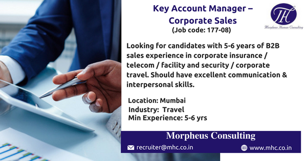 We Are Looking For An Experienced Key Account Manager Corporate