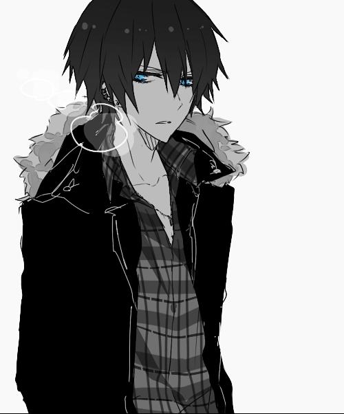 картинки парней аниме с черными волосами