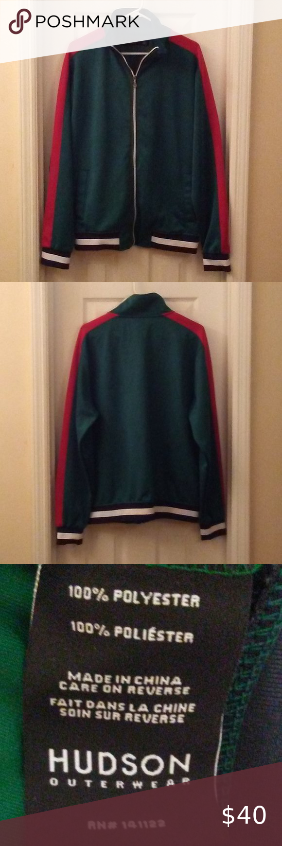 Hudson Athleisure Green Track Jacket Sz Large Shirt Dress Casual Black Tee Shirts Track Jackets [ 1740 x 580 Pixel ]