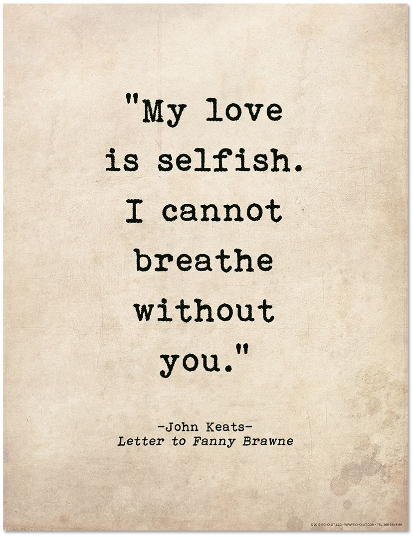 Romantic Quote Poster  John Keats Literary Print For Home Or