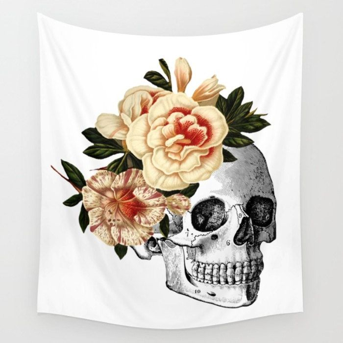Skull Wall Hanging Day Of The Dead Tapestry Rose Flower Crown