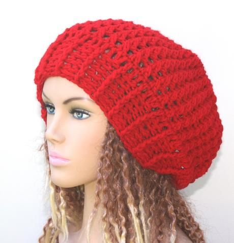 Red slouchy beanie, holly berry red beanie hat, crochet baggy Hat ...