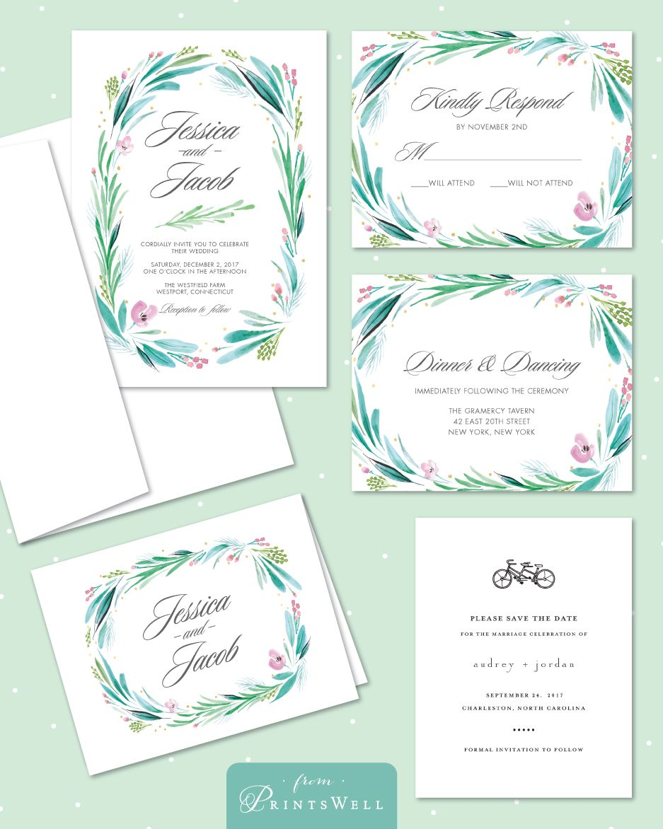 Lovely Leaf Wreath Bonnie Marcus Wedding Invitation Suite And Sweet Pea Tandem Bicycle Save The Date