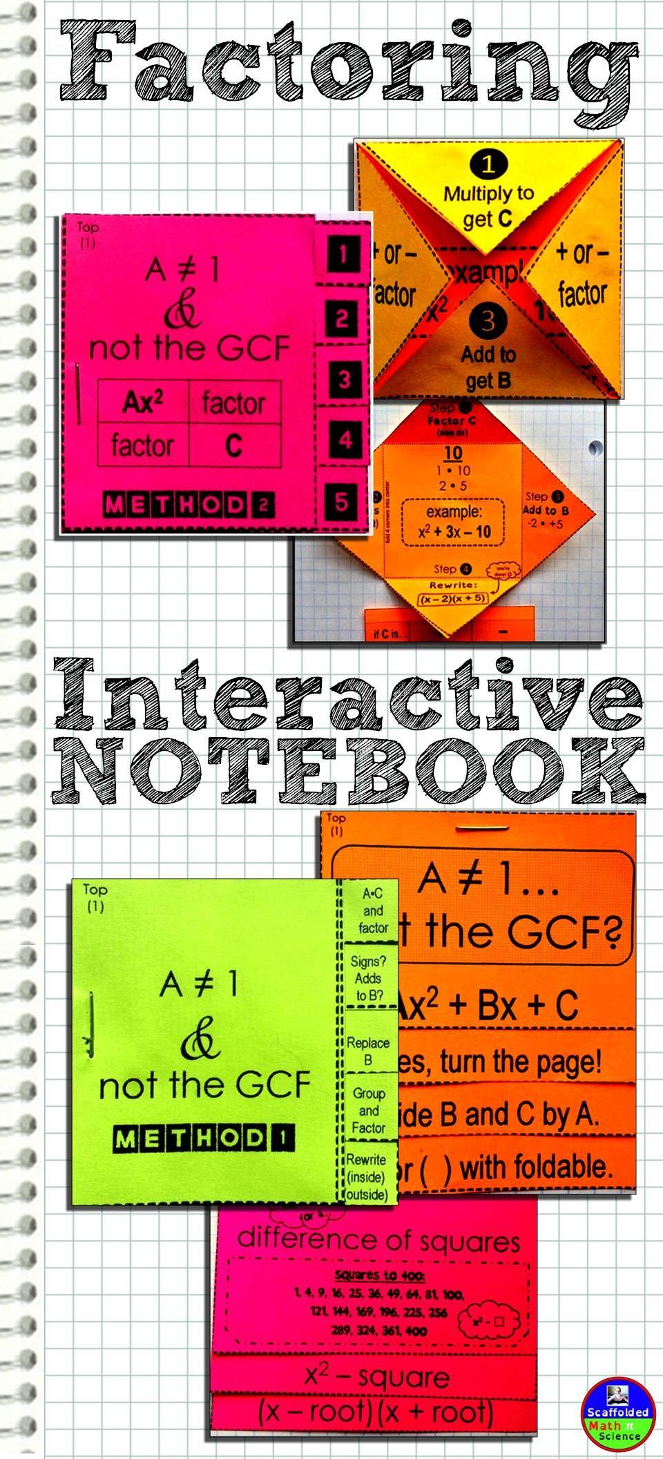 Factoring Quadratics Interactive Notebook Psych, Algebra