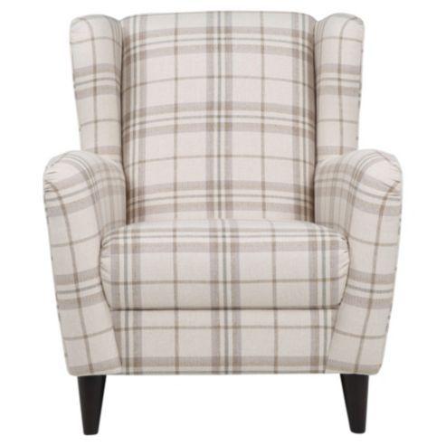 Beau Sophia Wingback Herringbone Occasional Chair, ECRU Check