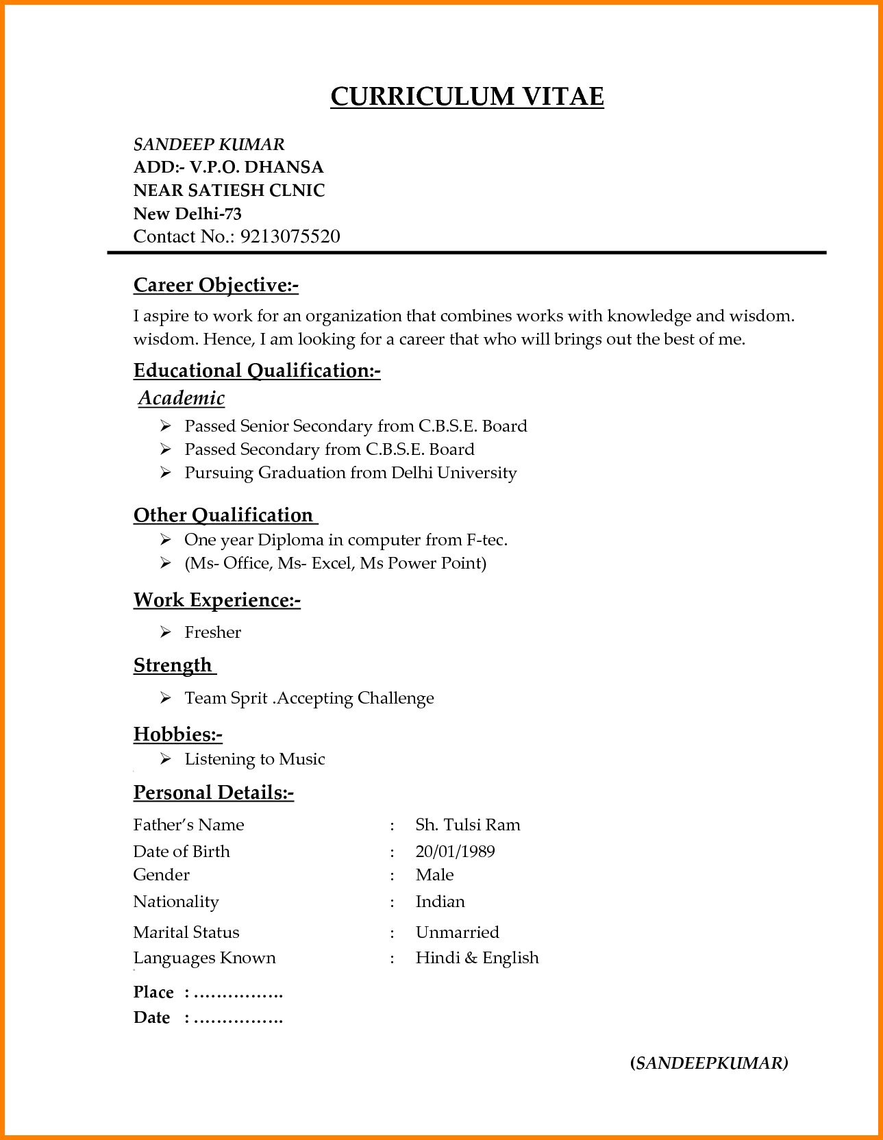 Different Resume Templates | 7 Different Resume Formats Resume Format Resume Format For