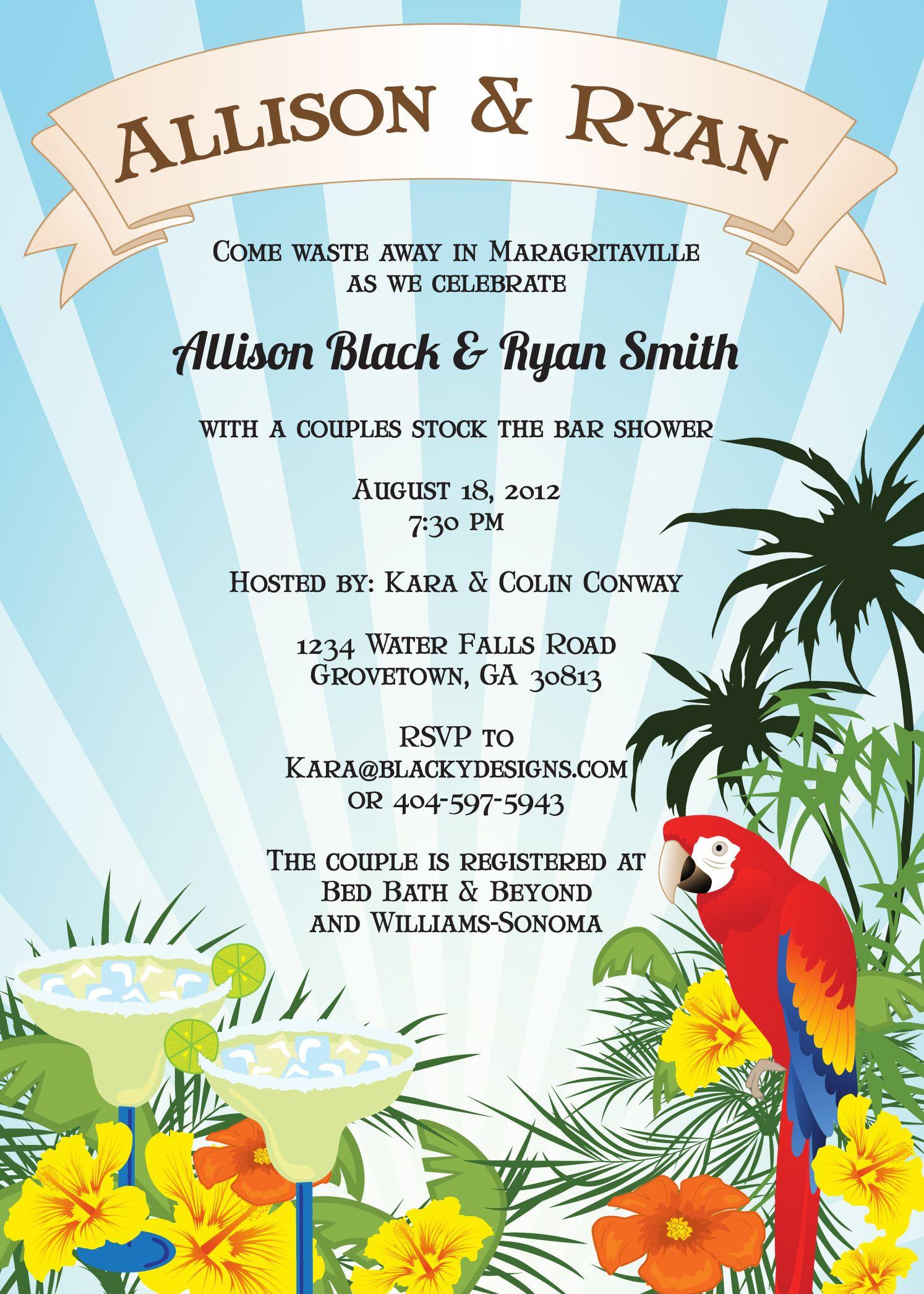 Margaritaville Shower Invitation www.blackydesigns.com I ...