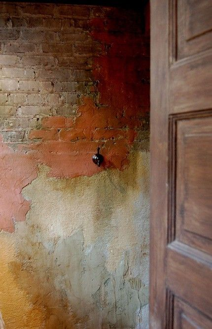 Distressed Stucco Walls Exterior: Coloured Brick Work #brickwall #paint #colour