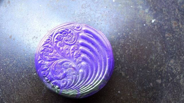 Brooch with swirl pattern in purple and green £6.00