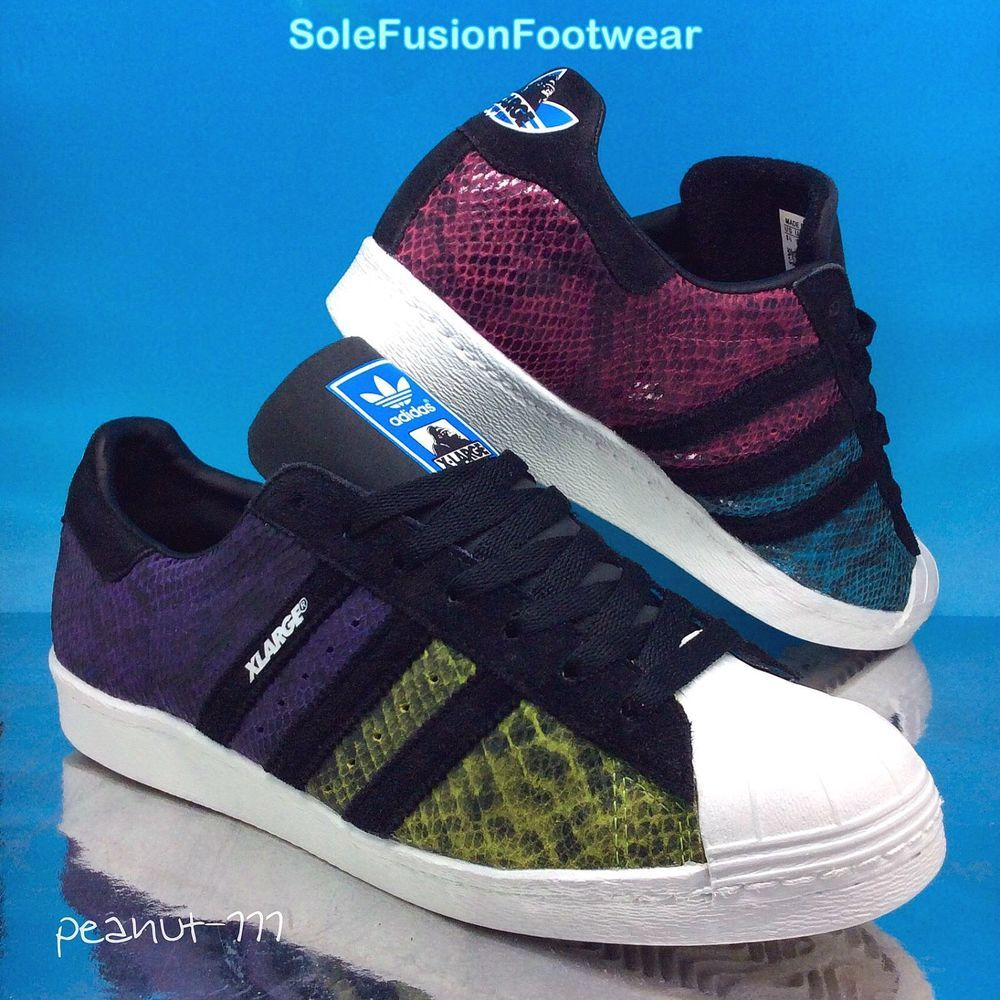 adidas Superstar Mens Snake Trainers Black size 9 Rare Sneakers US 9.5 EU  43 1/3