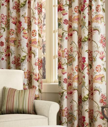 Beautiful Jacobean Floral Rod Pocket With Back Tab Curtains