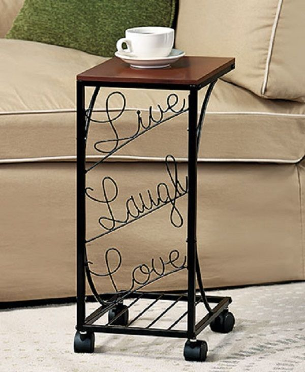 Coffee Table Side Sofa End Rolling Wooden And Metal Desigh Live Laugh Love Unbranded