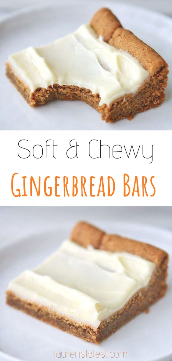 Gingerbread Bars with Cream Cheese Icing #cookies