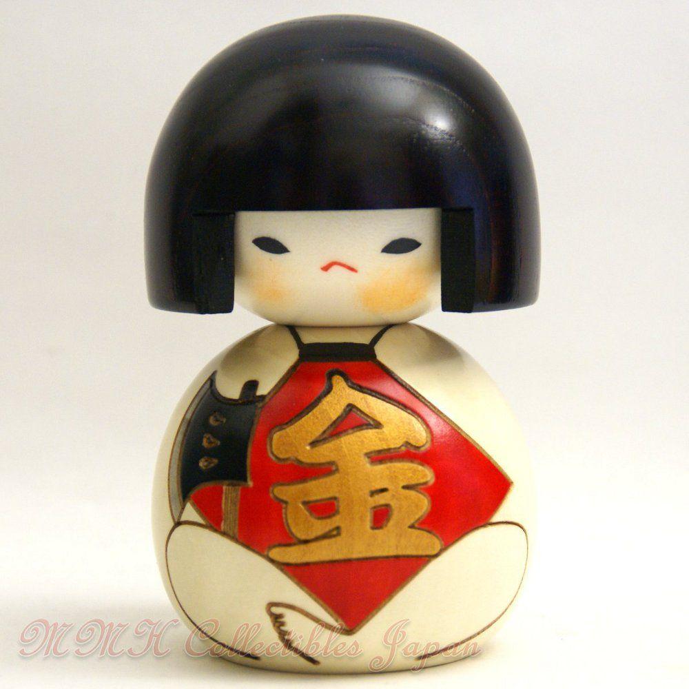 Cool Japanese Creative Kokeshi Doll by Usaburo - FUKUFUKU-KINTARO (HAPPY KINTARO) - MMH Collectibles Japan