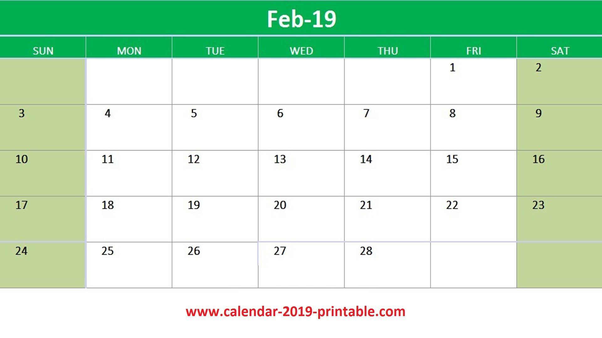 February 2019 Excel Calendar Printable 2019 Calendars Pinterest