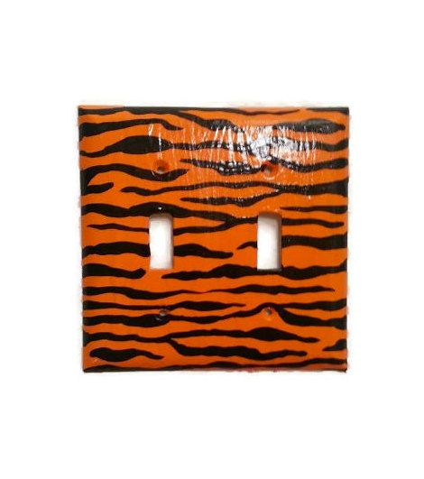 Tiger Print light switch plate - Hand painted orange and black light switch plate - Animal Print - Custom size - Bengals - pinned by pin4etsy.com