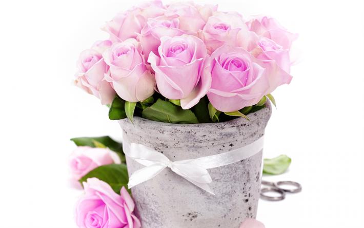 herunterladen hintergrundbild rosa rosen 4k blumenstrau kleine rosen rosa blumen vase. Black Bedroom Furniture Sets. Home Design Ideas