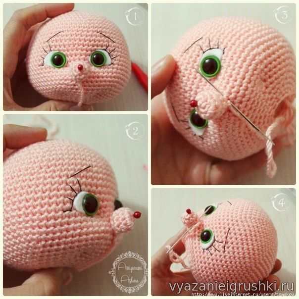 оформление лица вязаной кукле игрушки крючком вязаные игрушки