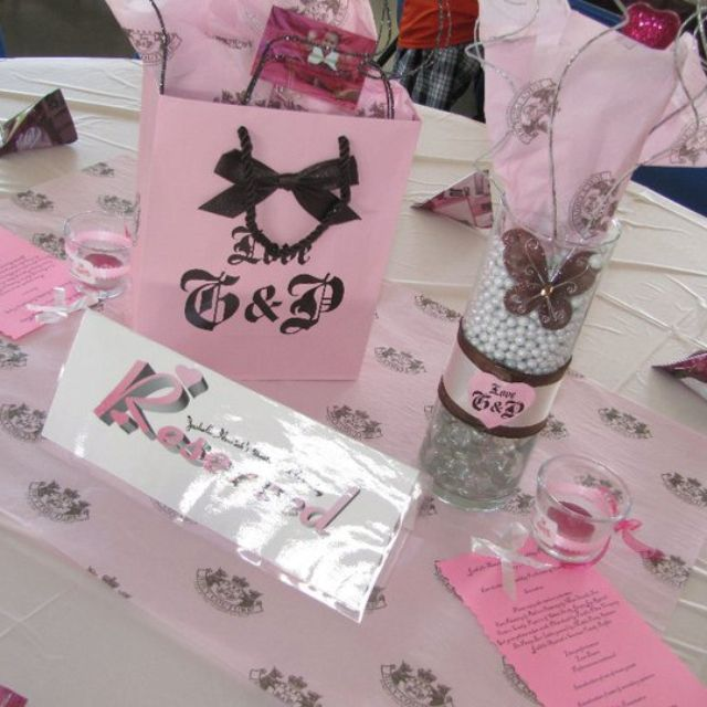Juicy couture table favors and centerpiece