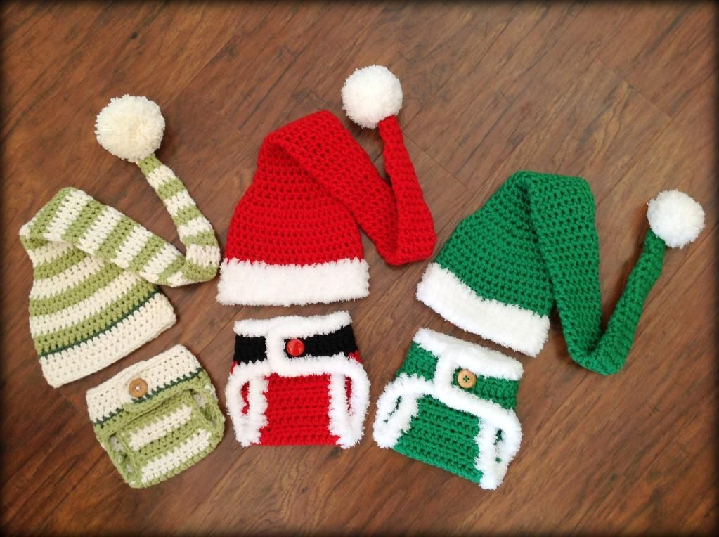 Santa & Elf Diaper Cover and Hat Pattern