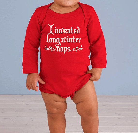 I invented long winter naps inspired by The Night Before Christmas - Ugly Christmas Long Sleeved Onesie  **SPECIAL Holiday Price for a LIMITED