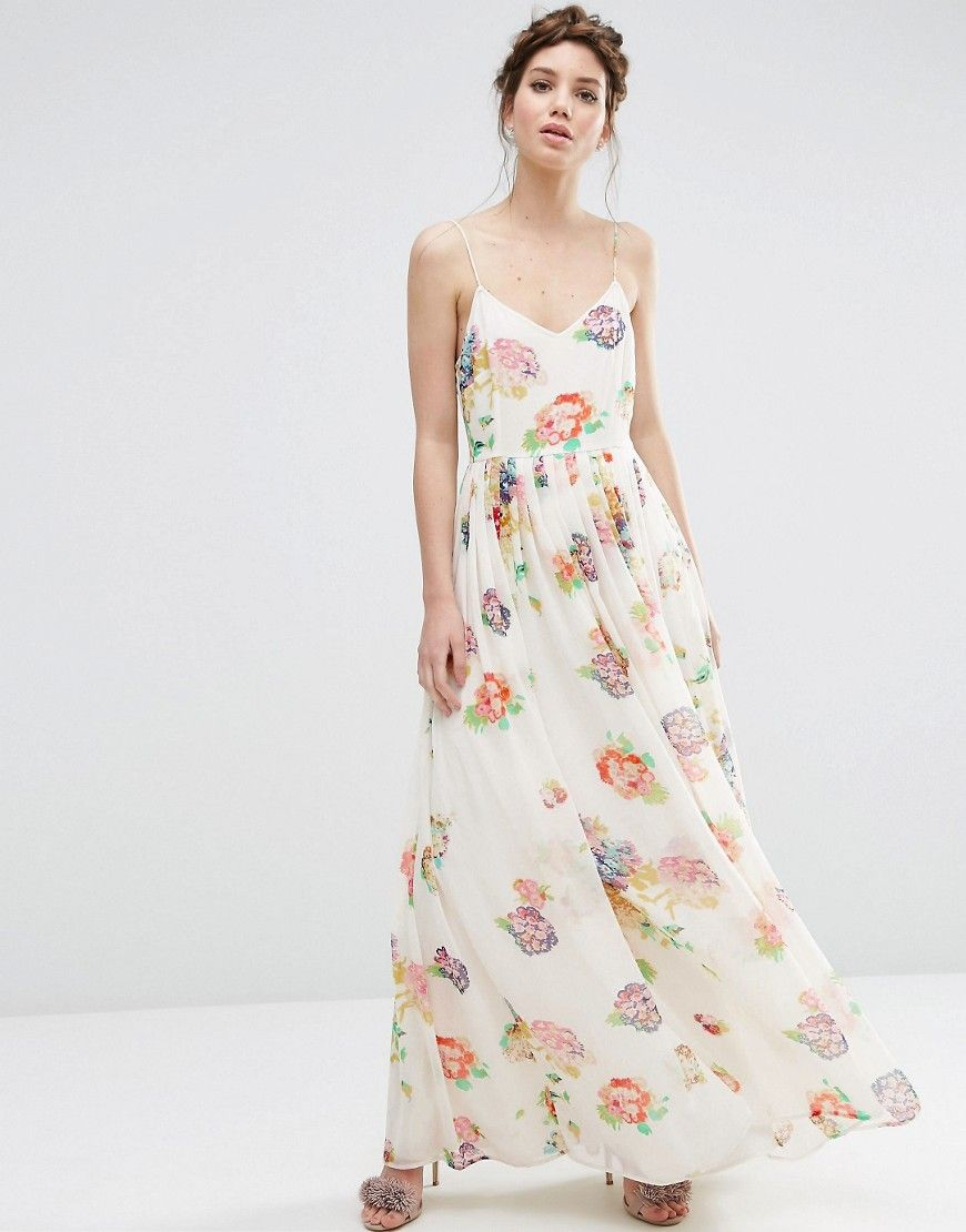 ebf0284cd51 Image 1 of ASOS Strappy Pleated Maxi Dress in Floral Print