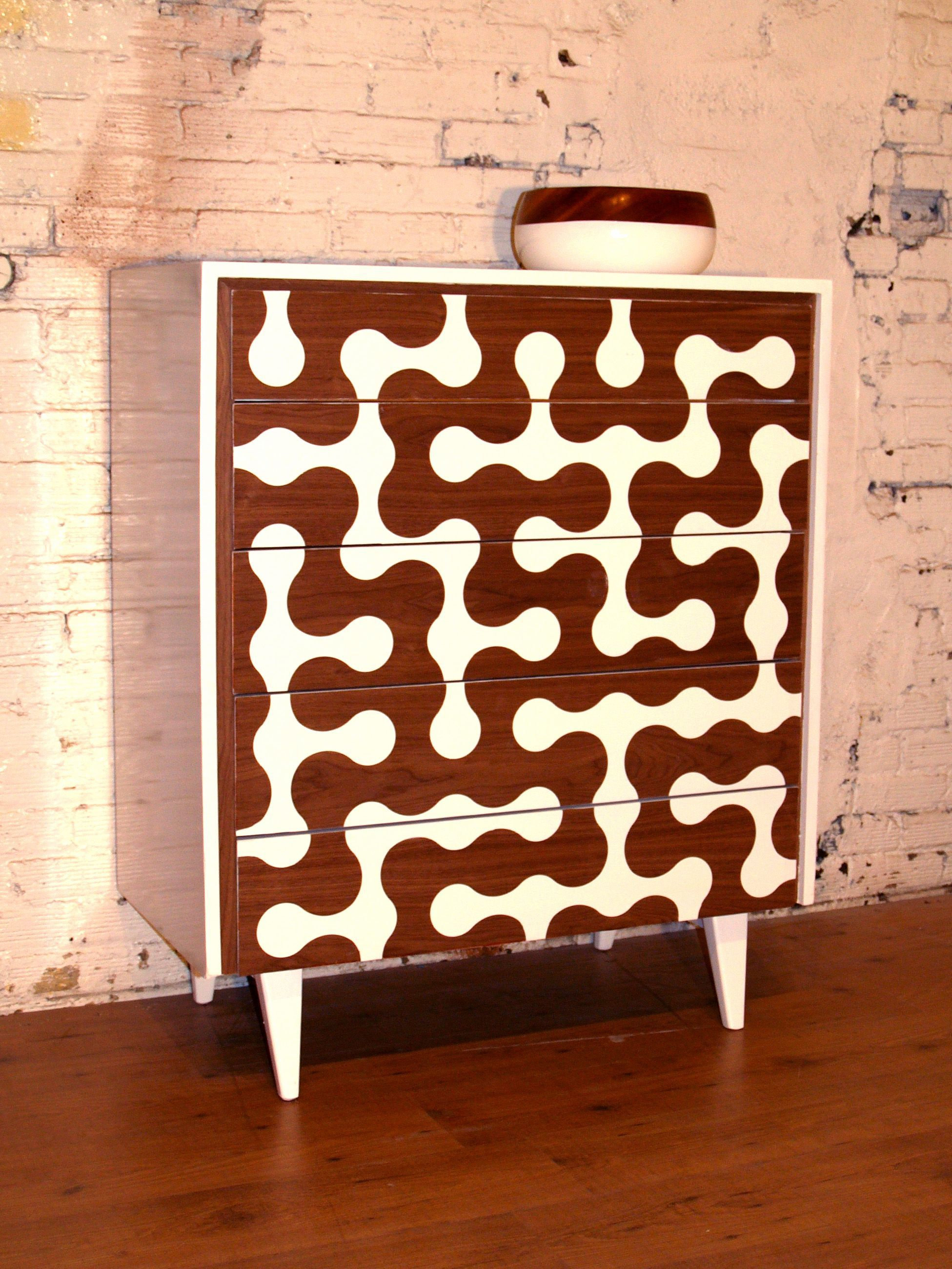 1949 never looked this electric Revamped highboy dresser in walnut 038 white lacquer Available at Om 1949 never looked this electric Revamped highboy dresser in walnut 03...