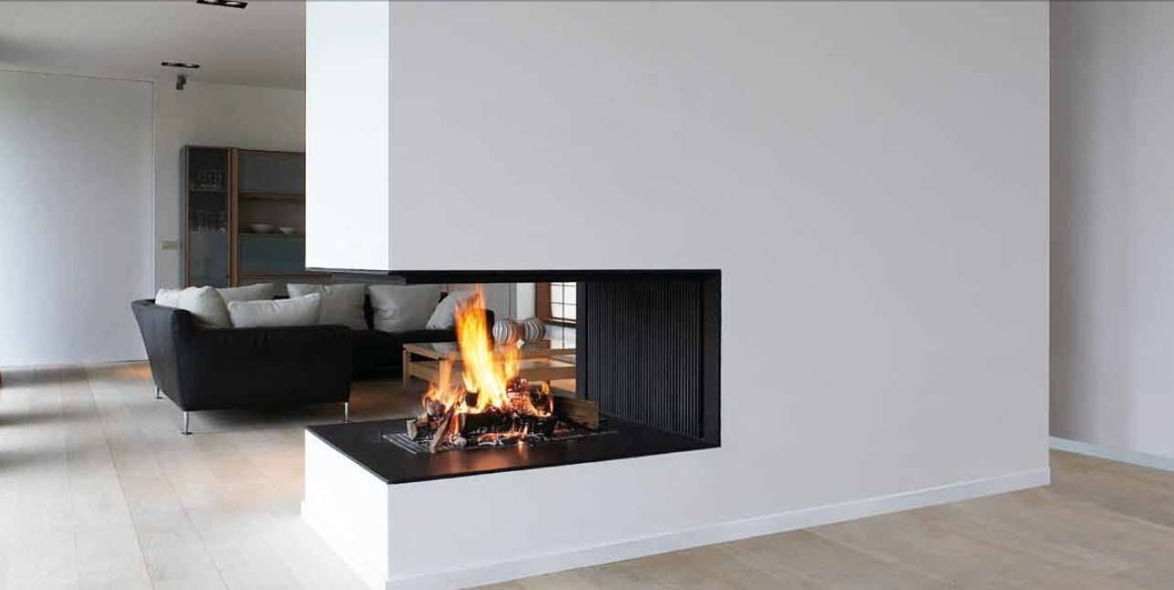 Wood Fireplace Contemporary Open Hearth 3 Sided