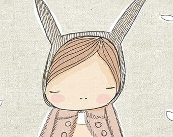 Nursery Girls Bedroom Art - Rabbit Wall Art - Bunny Rabbit with Pale Cinnamon Pink - Dusty Pink Coat - Art Print 8x10 Children's Room