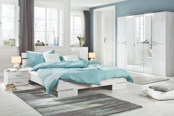 trendiges 4 teiliges schlafzimmer in wei eiche nb so f hlen sie sich wohl sz pinterest. Black Bedroom Furniture Sets. Home Design Ideas