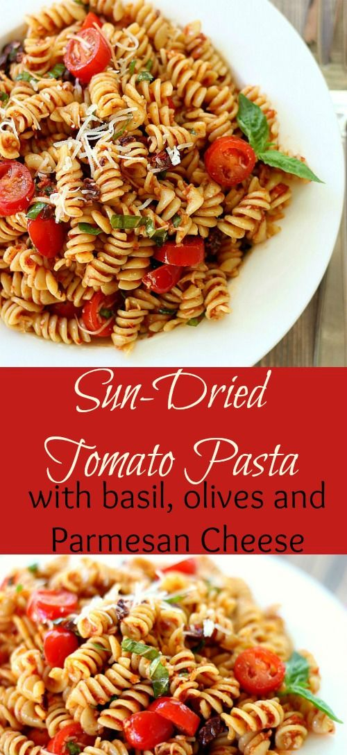 Sun-Dried Tomato Pasta. This delicious recipe features basil, kalamata olives, grape tomatoes and Parmesan cheese. Fresh and flavorful.