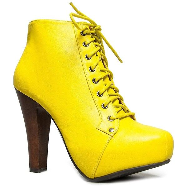0e0b9c90847d Speed Limit 98 Womens Rosa Chunky High Heel Lace Up Ankle Boot Bootie (25  CAD) ❤ liked on Polyvore featuring shoes