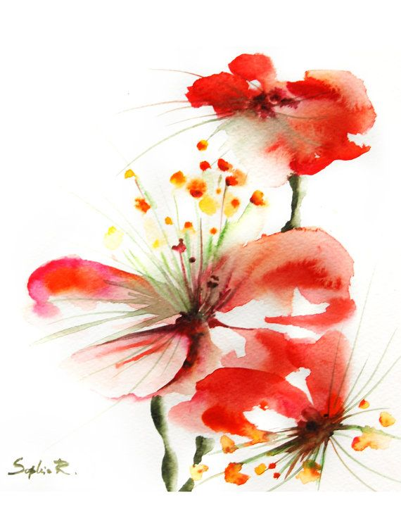 Wall Art Red Flower : Red flowers watercolor painting art print