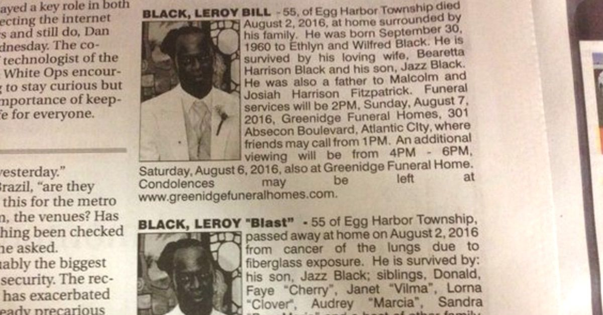Dead Man Gets Two Obituaries In Same Paper One From His Wife One From His Girlfriend Dead Man Egg Harbor Township Writing Inspiration