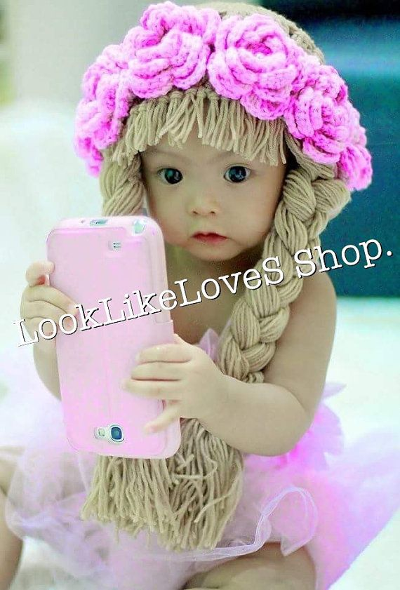 Flowers hair wig crochet 3-24m | Kinder | Pinterest | Kind
